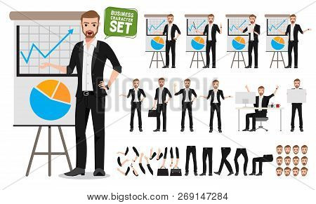 Male Business Vector Character Set. Business Man Cartoon Character Creation Talking  Business Presen