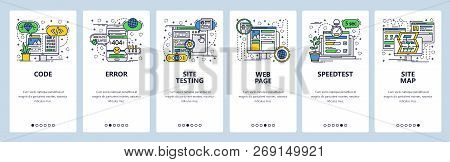 Vector Web Site Linear Art Onboarding Screens Template. Web Development, Coding And Testing, Sitemap