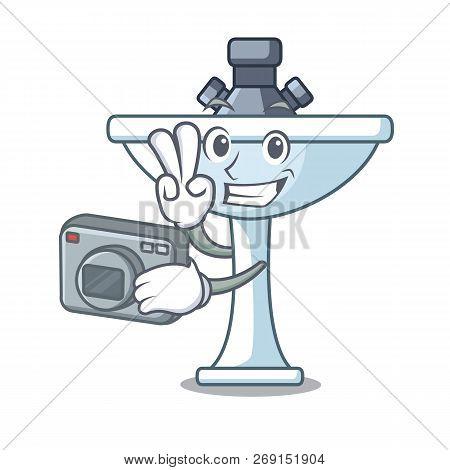 Photographer On Bath Room Cartoon Sink Shape