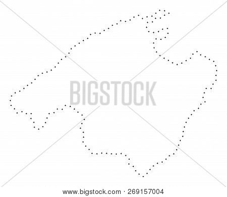 Vector Stroke Dotted Spain Mallorca Island Map In Black Color, Small Border Points Have Diamond Shap