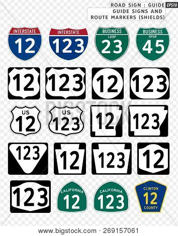 Road Sign. Guide. Guide Signs And Route Markers (shields).  Vector Illustration On Transparent Backg
