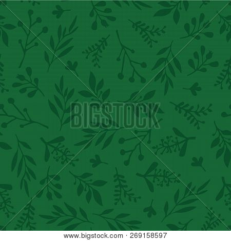 Seamless Vector Background With Abstract Leaves Green. Simple Leaf Texture In Green, Endless Foliage