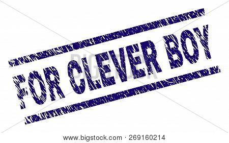 For Clever Boy Seal Stamp With Grunge Style. Blue Vector Rubber Print Of For Clever Boy Tag With Gru