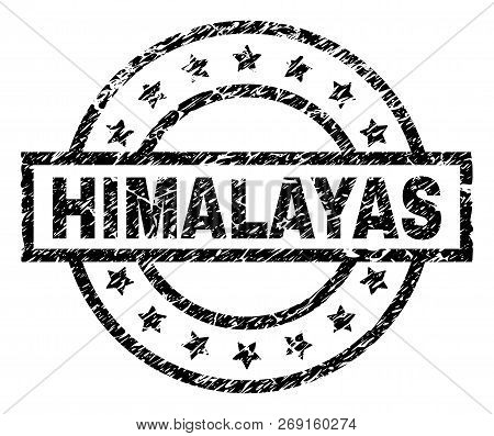 Himalayas Stamp Seal Watermark With Distress Style. Designed With Rectangle, Circles And Stars. Blac