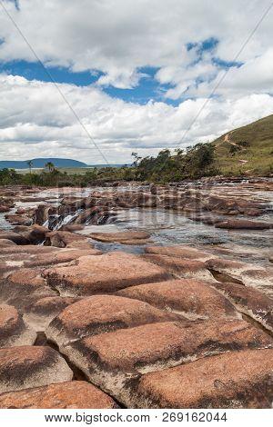 Salto Yuruani Waterfall At Yuruani River In Gran Sabana Region In National Park Canaima, Venezuela.
