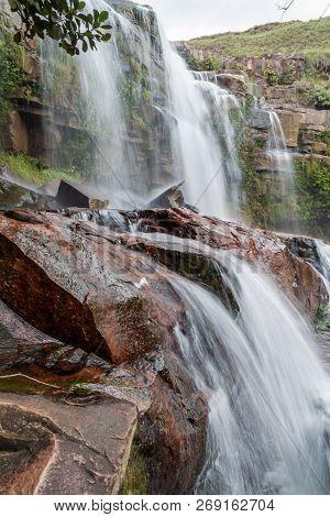 Quebrada Pacheco Waterfall In Gran Sabana Region In National Park Canaima, Venezuela.