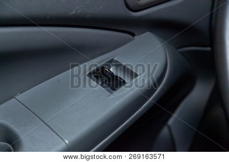 Novosibirsk, Russia - November 16, 2018: Nissan Almera,  Close-up Of The Side Door Buttons. Photogra