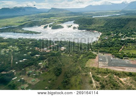 Aerial View Of Canaima Lagoon Waterfall At River Carrao In Venezuela