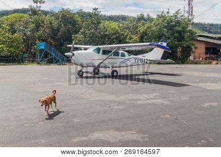 Canaima, Venezuela - August 16, 2015: Cessna Airplane At The Airport In Canaima Village, Venezuela