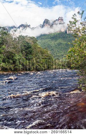 River Churun And Tepui Table Mountain Auyan In National Park Canaima, Venezuela