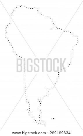 Vector Stroke Dot South America Map In Black Color, Small Border Points Have Diamond Shape. Track Th