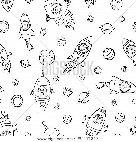 Space Animals Seamless Vector Background. Rocket Ships. Astronaut Mouse, Cat, Giraffe, Dog, And Lion