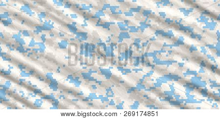 Sky Blue Army Camouflage Background. Military Uniform Clothing Texture. Seamless Combat Uniform.