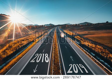 Driving On Open Road At Beautiful Sunny Day From 2018 To The New Year 2019