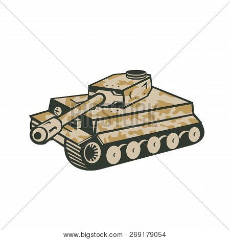 Retro Style Illustration Of German World War Two Camouflaged Panzer Battle Tank Aiming Its Cannon To