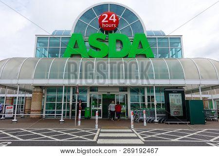 Brighton And Hove Brighton, England-2 October,2018: Asda Big Supermarket Shopfront Entrance With Loc