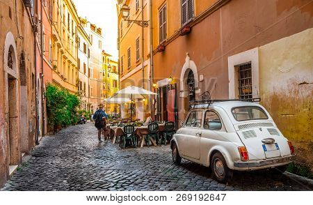 Cozy Street In Trastevere, Rome, Europe. Trastevere Is A Romantic District Of Rome, Along The Tiber