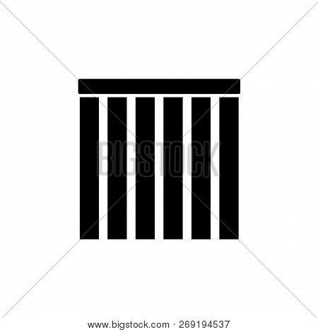 Black & White Vector Illustration Of Closed Vertical Blinds. Flat Icon Of Window Shades & Jalousie.