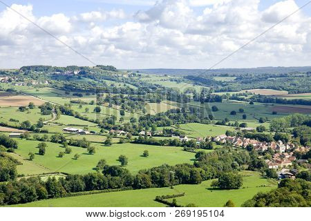 Aerial View Near Vezelay Abbey In France. View From The Hill Of Vezelay Abbey. The Abbey Is Located