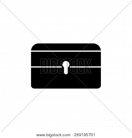 Black & White Vector Illustration Of Jewelry Holder. Jewellery Lockable Box. Flat Icon Of Storage Or