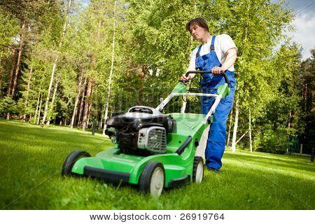 lawn mower man working on the backyard