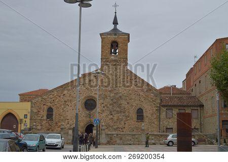 November 1, 2018. Astorga, Leon, Castilla-leon, Spain. Main Facade Of The Church Of San Bartolome In