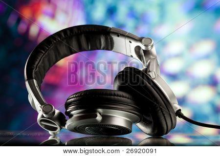 headphones against disco background