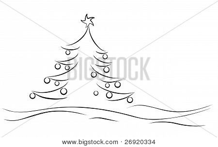 landscape winter card with tree