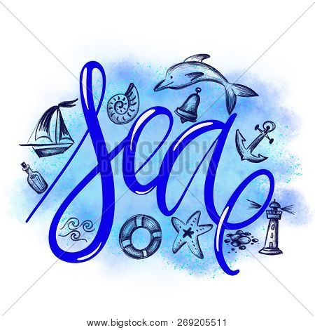 Sea. Summer Vacations Poster With Text, Sketes Of Dolphin, Waves, Shell, Bell, Anchor, Lighthouse, S