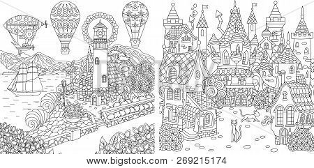 Coloring Pages. Coloring Book For Adults. Colouring Pictures With Light House And Fairy Tale Castle.
