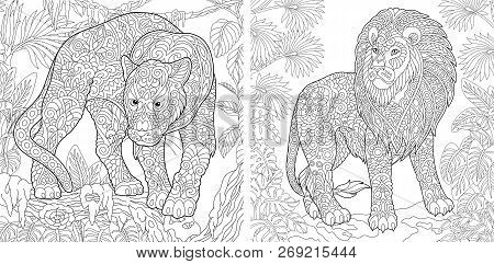 Coloring Pages. Coloring Book For Adults. Colouring Pictures With Panther And Lion. Antistress Freeh