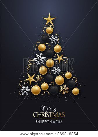 Greeting Card With Christmas Tree. Shiny Christmas-tree Decorations, Balls, Stars And Snowflakes On