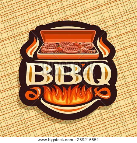 Vector Logo For Bbq, Dark Decorative Icon With Roasted Frankfurters, Fresh Tomatoes, Juicy Beefsteak