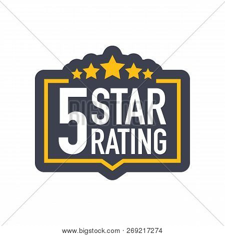 Five Stars Rating Sign In Flat Style. Vector Stock Illustration.