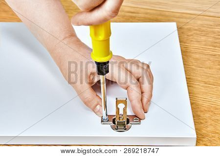 Screw Is Tightened In The Furniture Door Hinges With A Screwdriver Into The Wooden Table By The Furn