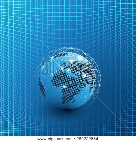 Futuristic Global Technology, Networking And Cloud Computing Design Concept With Earth Globe And 3d