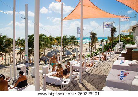 Mexico, Cancun - February 15, 2018: Ocean View And Cancun Beach.  Grand Pyramid Entertaining Complex