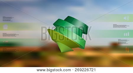 3d Illustration Infographic Template. The Round Pentagon Is Divided To Five Color Parts. Object Is A