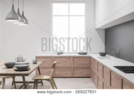 White And Gray Kitchen With Table, Side View