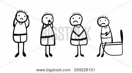 Symptomps Of Rotovirus Infection Hand Drawn Illustration Boy With Headache Fever Diarrhea Stomach Pa