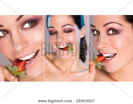 set of three images of beauty woman with strawberries