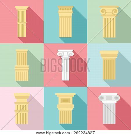 Pillar Icon Set. Flat Set Of Pillar Vector Icons For Web Design