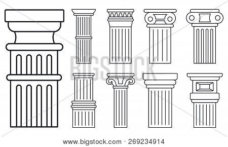 Ancient Column Icon Set. Outline Set Of Ancient Column Vector Icons For Web Design Isolated On White