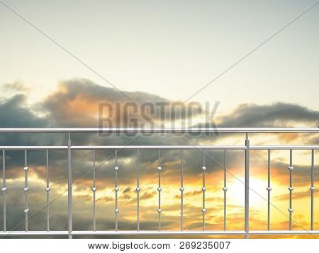 Chrome , Stainless Steel  Inox Fence Or Alu Fence. Aluminum Fence With Sunset Clouds Sky Background.