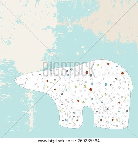 White Polar Bear On A Bright Frosty Grunge Background Stylized Animals In A Circle