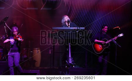 HUNTINGTON, NY - NOV 16: (L-R) David Ragsdale, Ronnie Platt and Zak Rizvi of Kansas perform at the Paramount on November 16, 2018 in Huntington, New York.