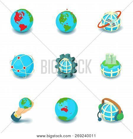 Terrestrial Globe Icons Set. Cartoon Set Of 9 Terrestrial Globe Icons For Web Isolated On White Back
