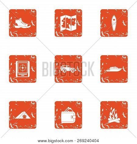 Unknown Way Icons Set. Grunge Set Of 9 Unknown Way Icons For Web Isolated On White Background