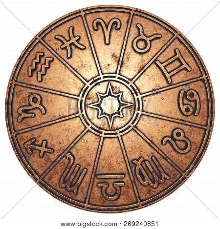 Astrological Zodiac Signs Inside Of Copper Horoscope Circle