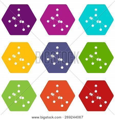 Ethyl Acetate Icons 9 Set Coloful Isolated On White For Web